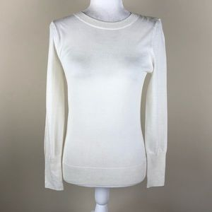 HALOGEN Ivory Merino Wool Blend Sweater XS Petite